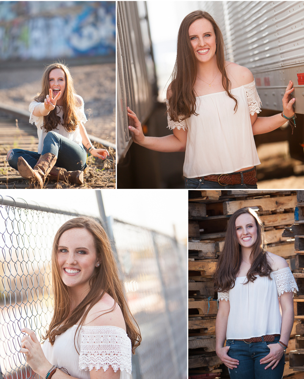 High School Senior Portraits of long haired young woman on location with fencing, trucks and out of use train tracks in Denver. Photographer Jennifer Koskinen, Merritt Design Photo