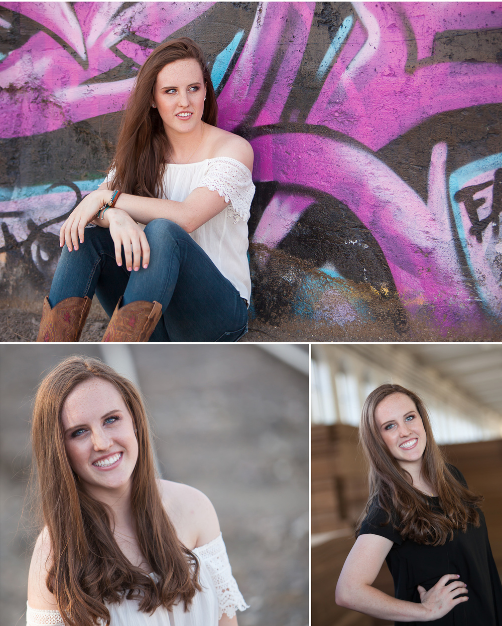 High School Senior Portraits of long haired girl in front purple graffiti wall in Denver. Photographer Jennifer Koskinen, Merritt Design Photo
