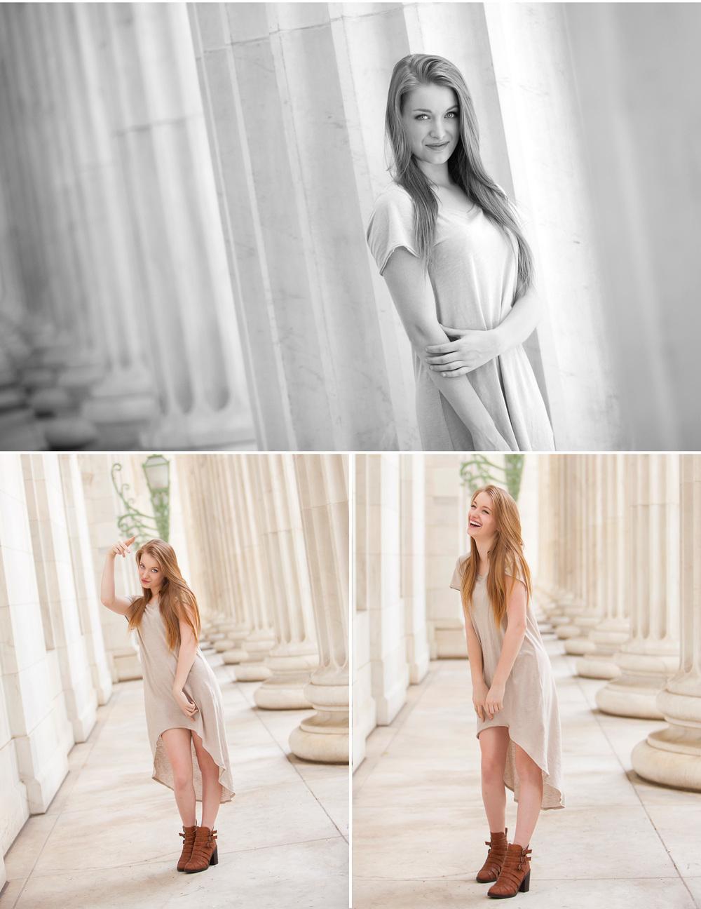 Fashion inspired High School Senior Pictures, in columns at Byron White Courthouse in Denver, with portrait photographer Jennifer Koskinen | Merritt Portrait Studio