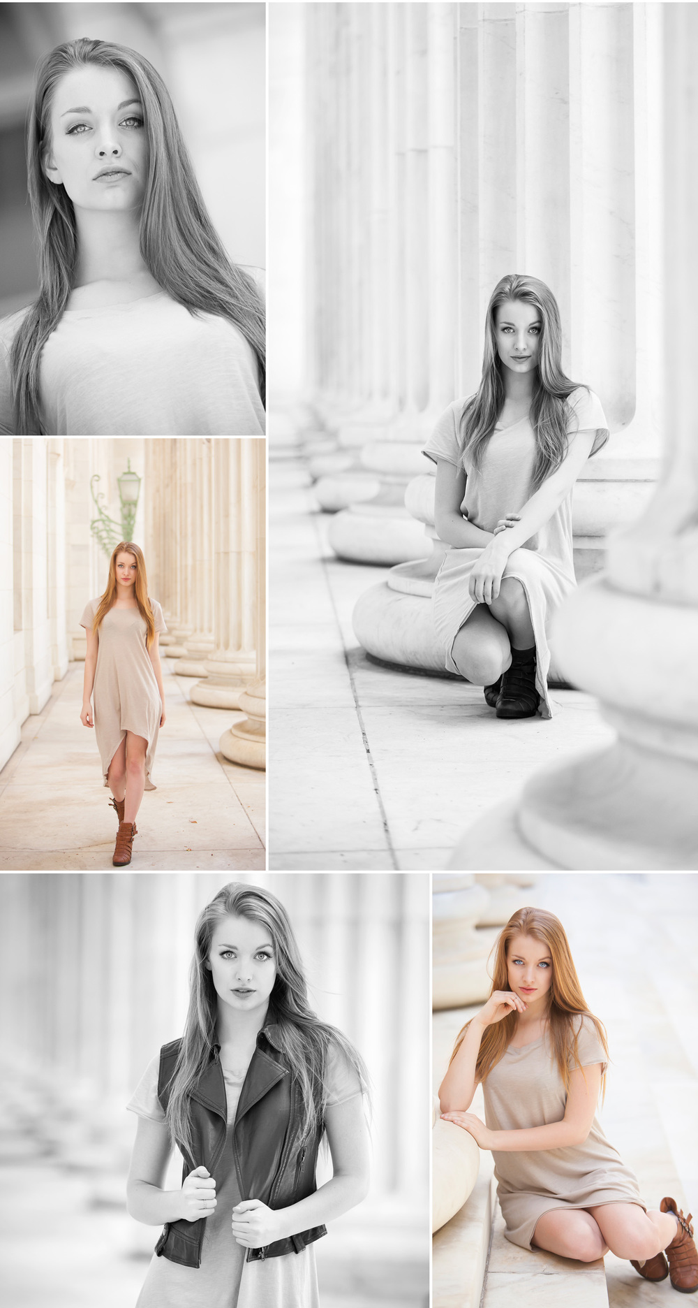 Fashion inspired High School Senior Photos, in columns at Byron White Courthouse in Denver, with photographer Jennifer Koskinen | Merritt Portrait Studio