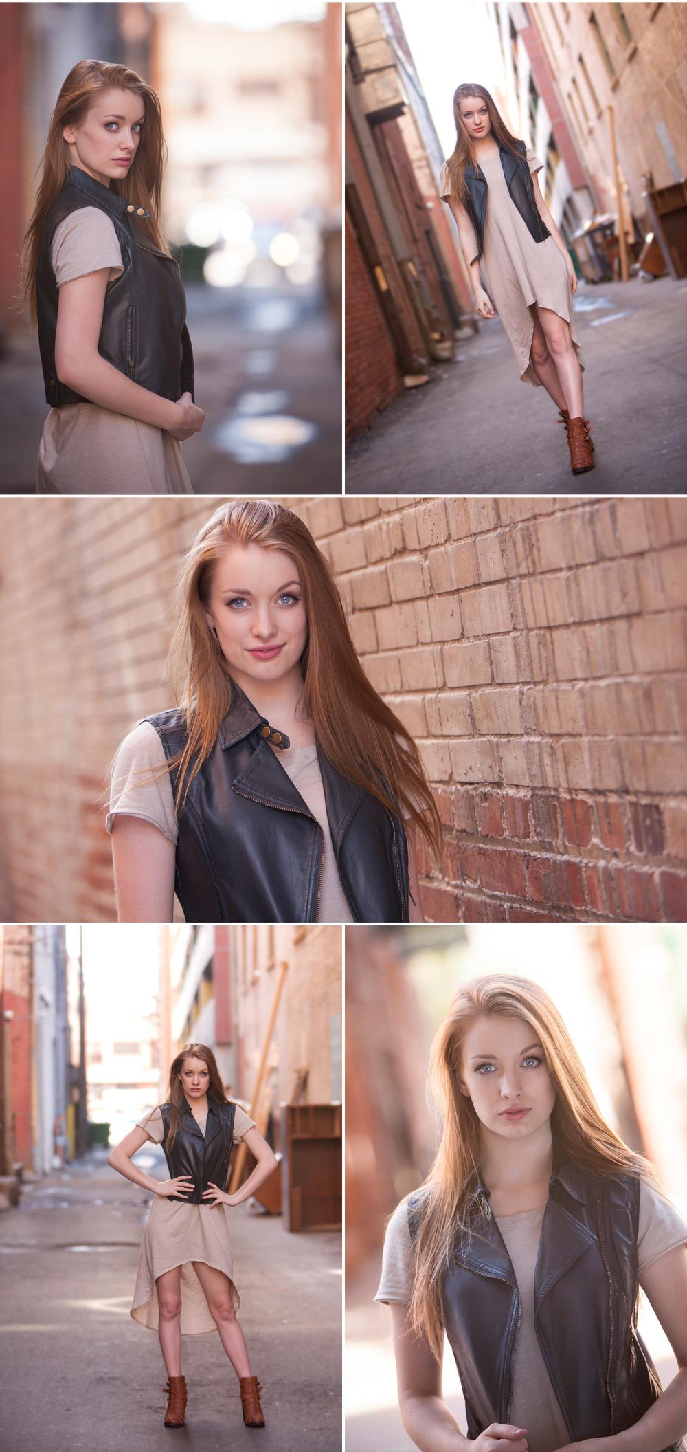 Senior Pictures in Urban Alley, Denver, Merritt Portrait Studio