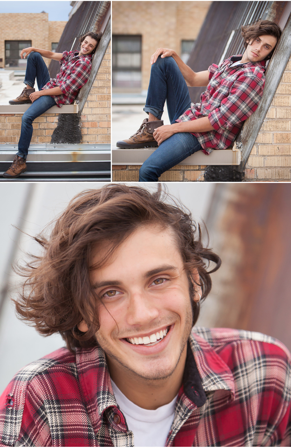 Male Talent Headshots and Portfolio Photos on urban rooftop, by Denver Photographer Jennifer Koskinen, Merritt Portrait Studio.