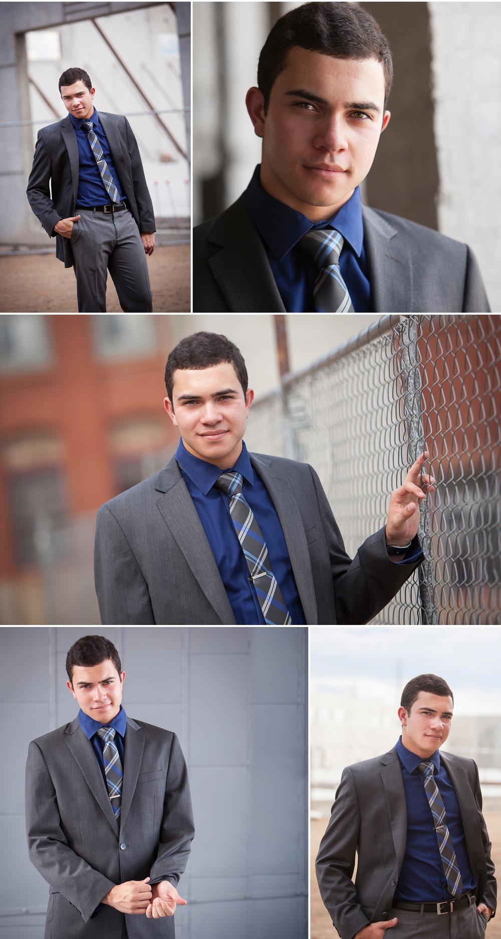 Senior Portraits of guy in suit on industrial campus, with Denver photographer Jennifer Koskinen of Merritt Portrait Studio