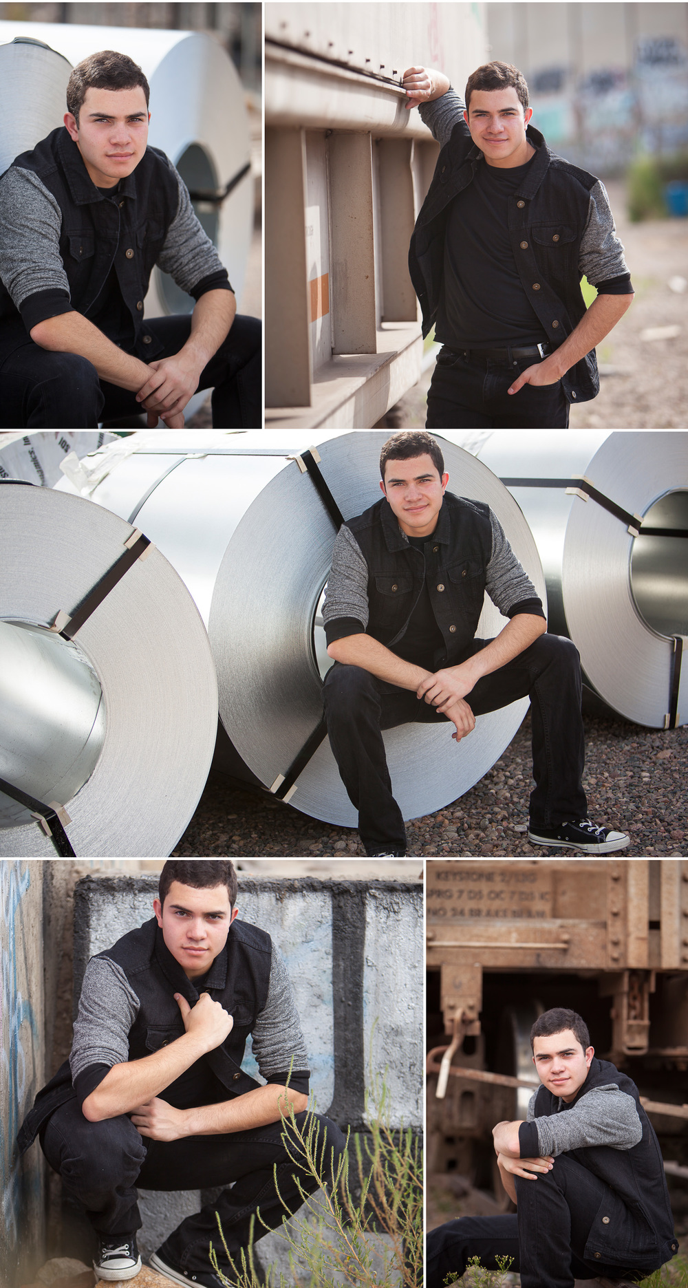 Senior Guy Portraits with building materials on industrial campus, with Denver photographer Jennifer Koskinen of Merritt Portrait Studio