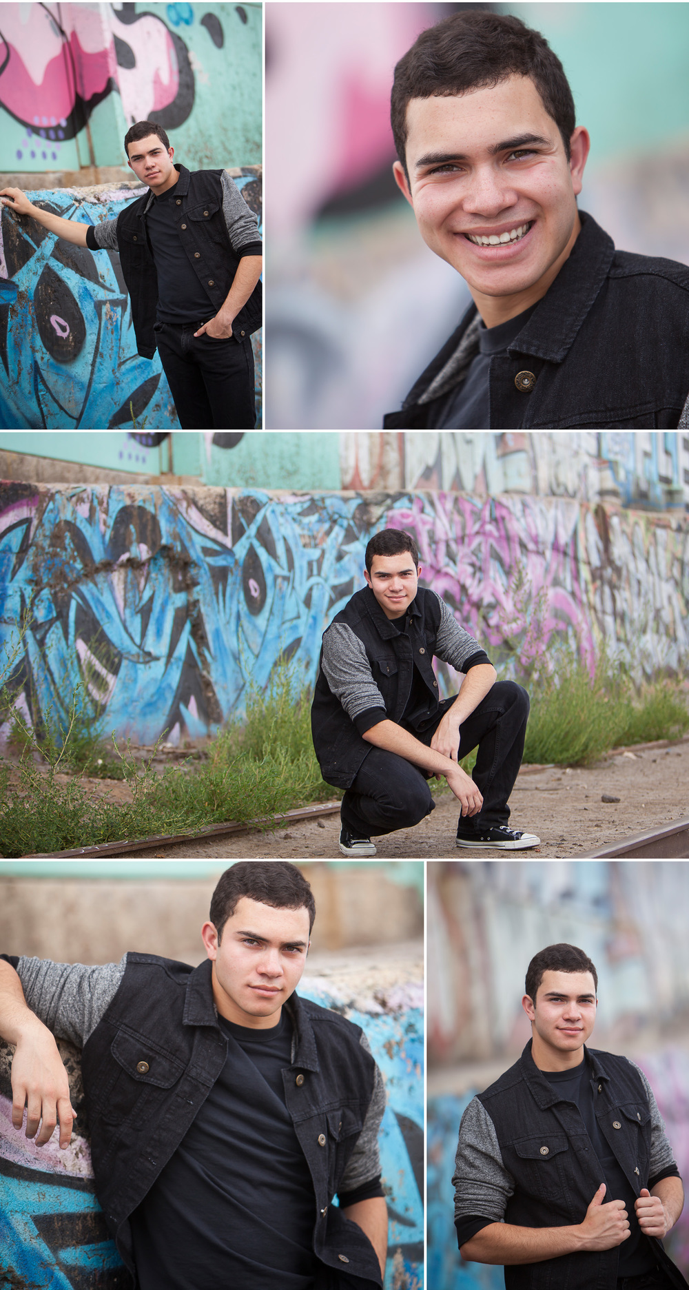 Senior Guy Pictures with graffiti wall in urban industrial area, with Denver photographer Jennifer Koskinen of Merritt Portrait Studio