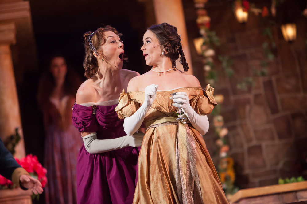 Vanessa Morosco and Rachel Turner in MUCH ADO ABOUT NOTHING at Colorado Shakespeare Festival. Photo by Jennifer Koskinen | Merritt Design Photo