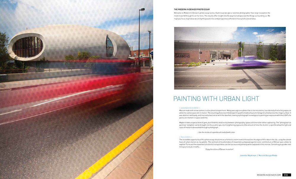 Painting with Urban Light: Photo Essay feature for  Modern in Denver . Photographer Jennifer Koskinen | Merritt Portrait Studio