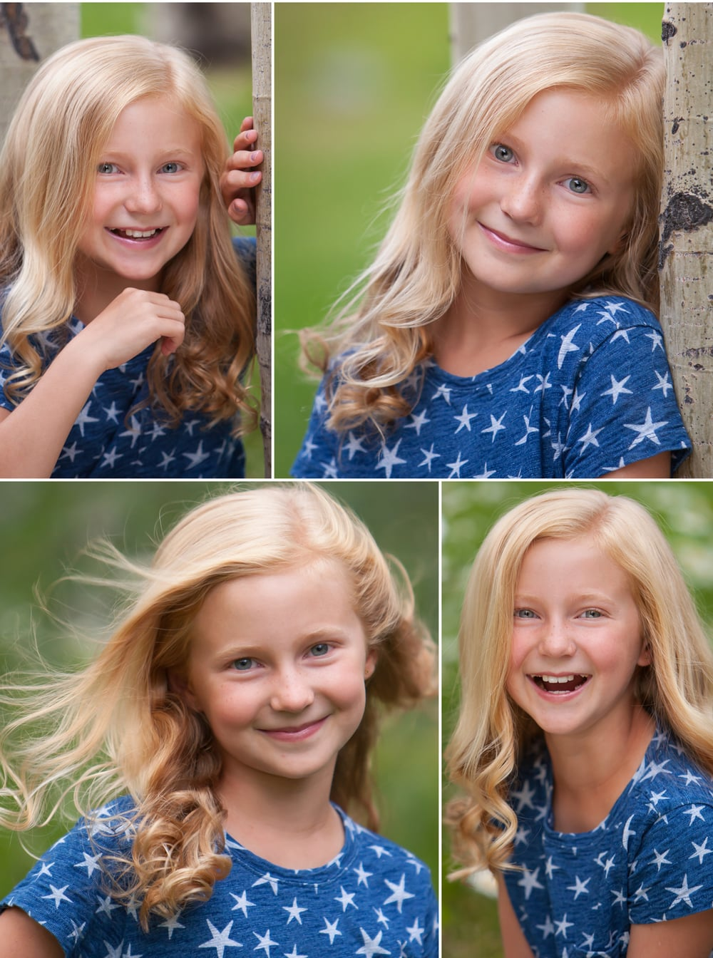 Actor headshots of adorable young blonde girl in Aspen Colorado, by photographer Jennifer Koskinen | Merritt Portrait Studio