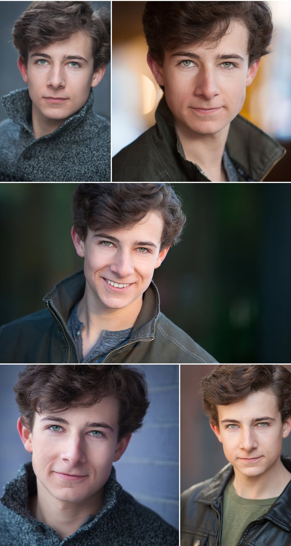 Green eyed teen Actor Headshots in urban setting, with Denver photographer Jennifer Koskinen | Merritt Portrait Studio