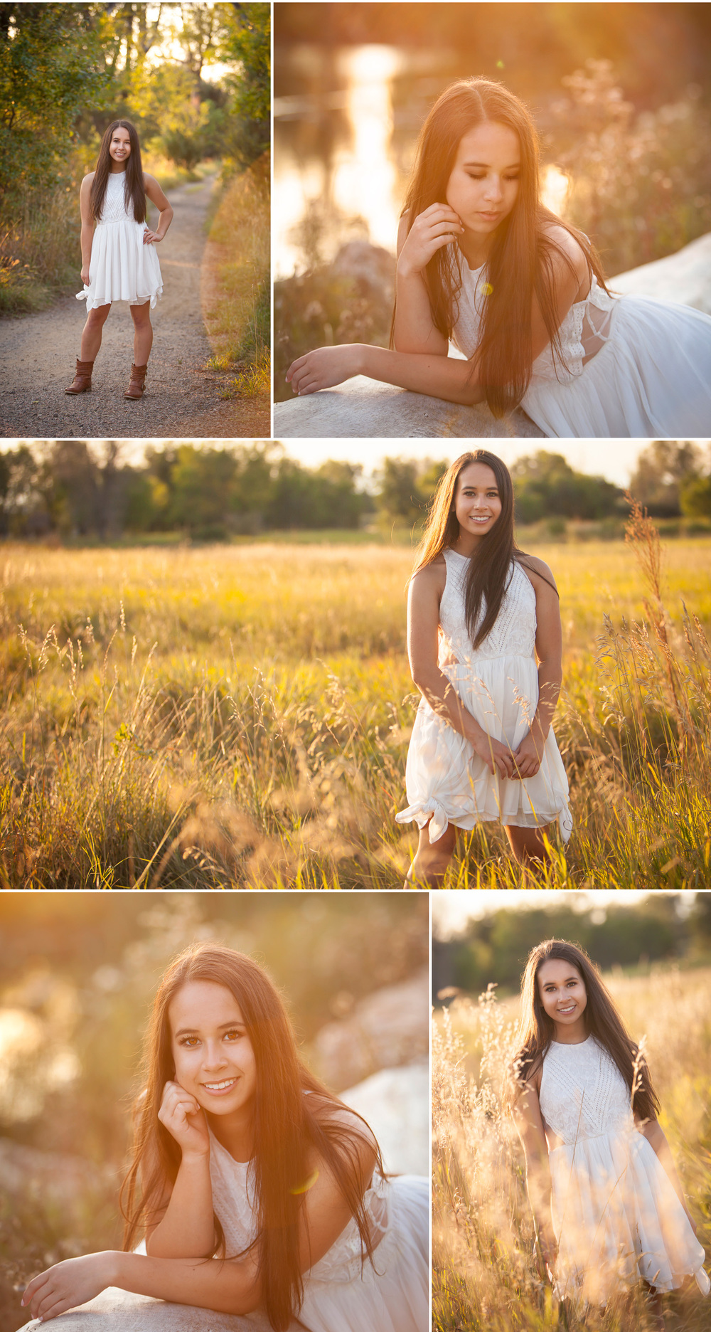 Beautiful brunette girl poses for golden light high school senior pictures in a meadow south of Denver with photographer Jennifer Koskinen | Merritt Portrait Studio