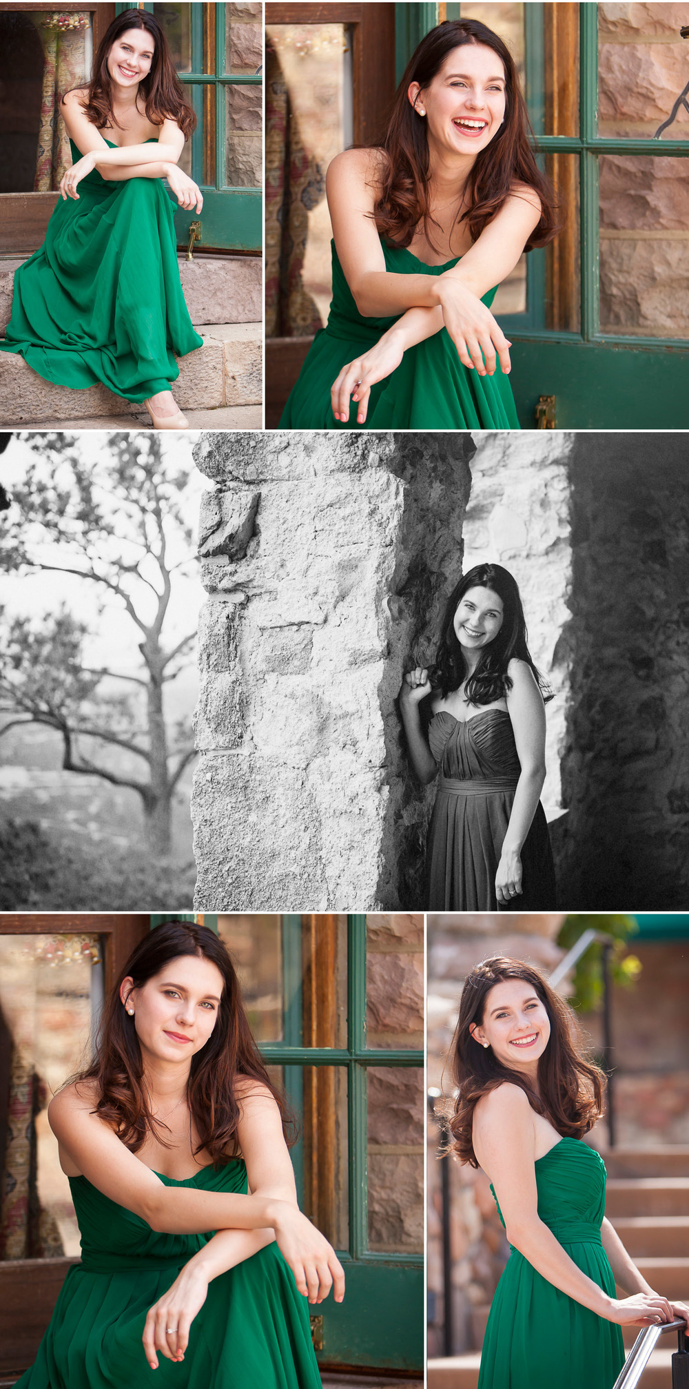 Senior pictures in green dress at Cherokee Castle & Ranch south of Denver Colorado, with photographer Jennifer Koskinen | Merritt Portrait Studio