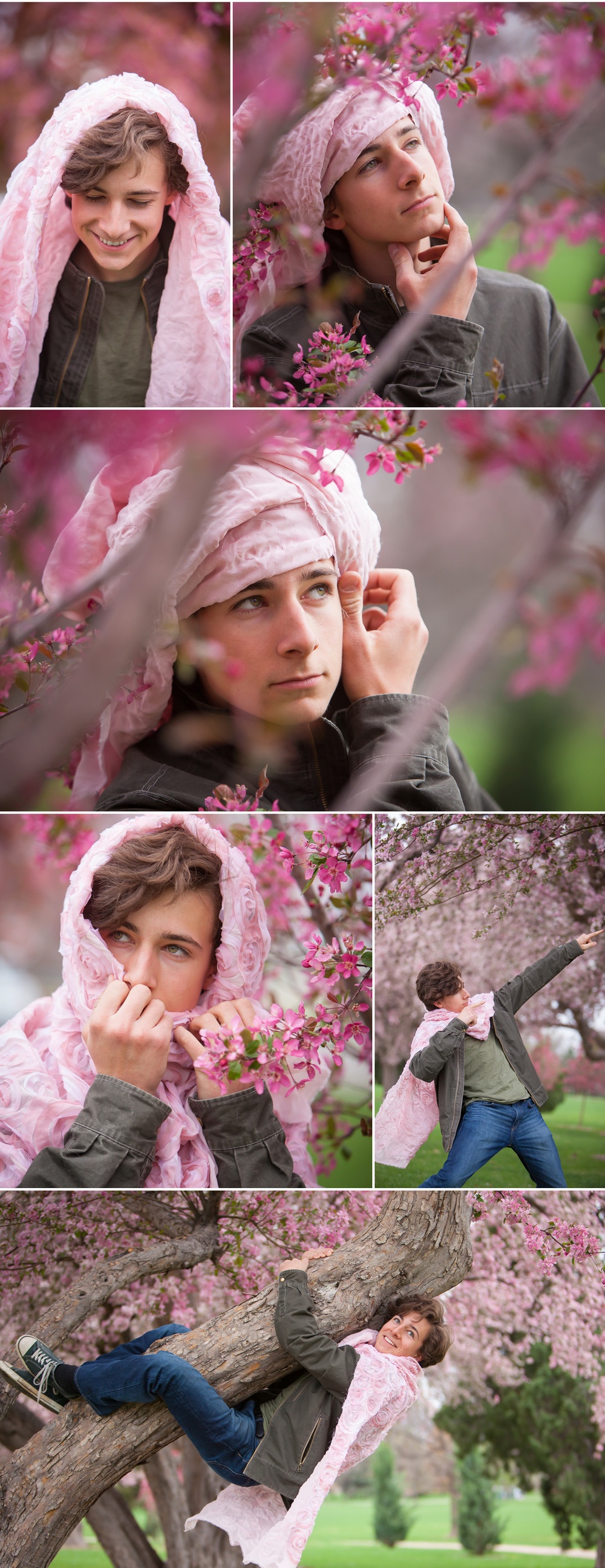 "Springtime ""Glamour"" Portrait session of teenage boy in pink Cherry Blossom trees by photographer Jennifer Koskinen 
