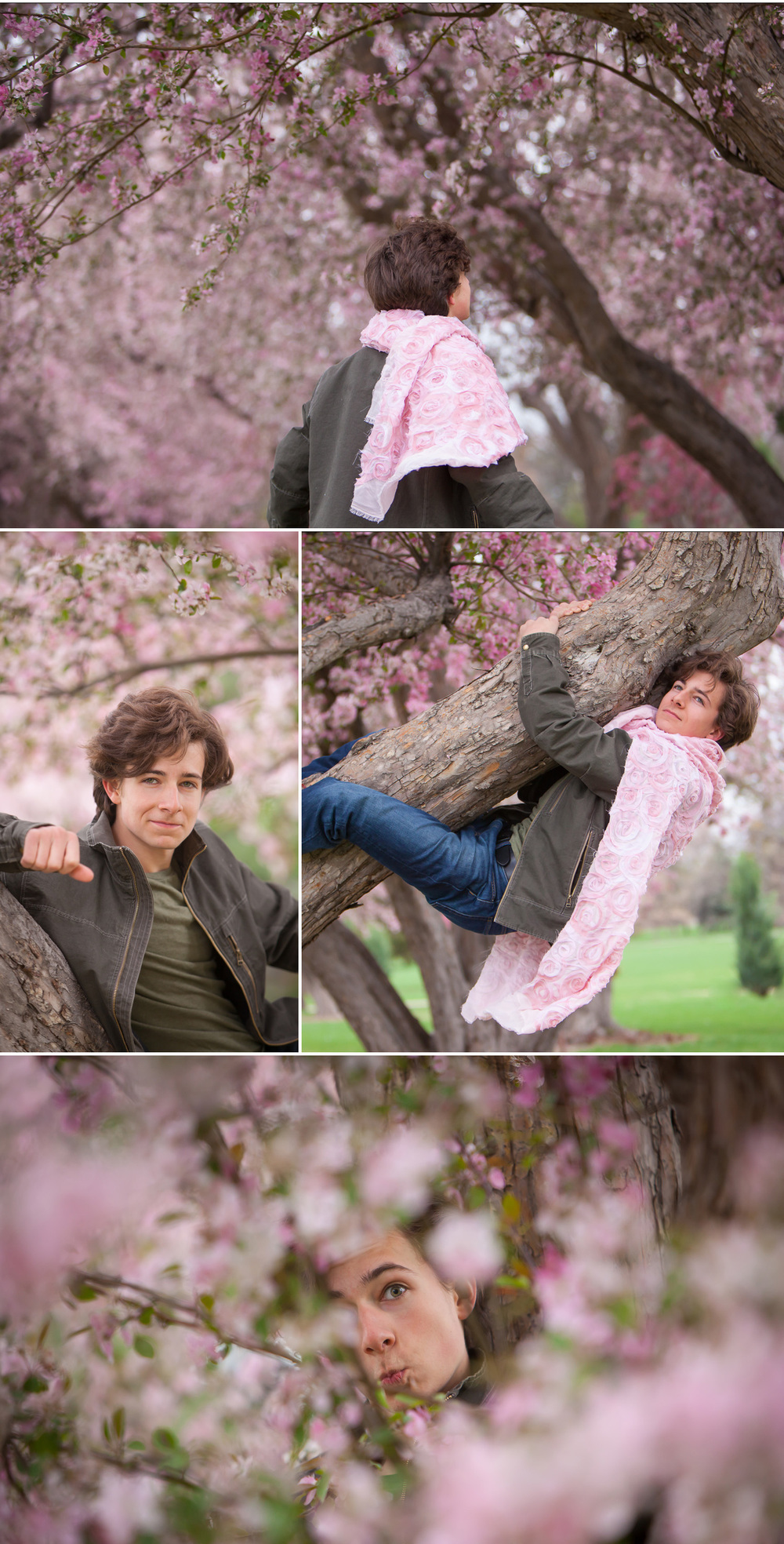 "Spring ""Glamour"" Portrait session of teenage boy playing with cape in pink Cherry Blossom trees by photographer Jennifer Koskinen 