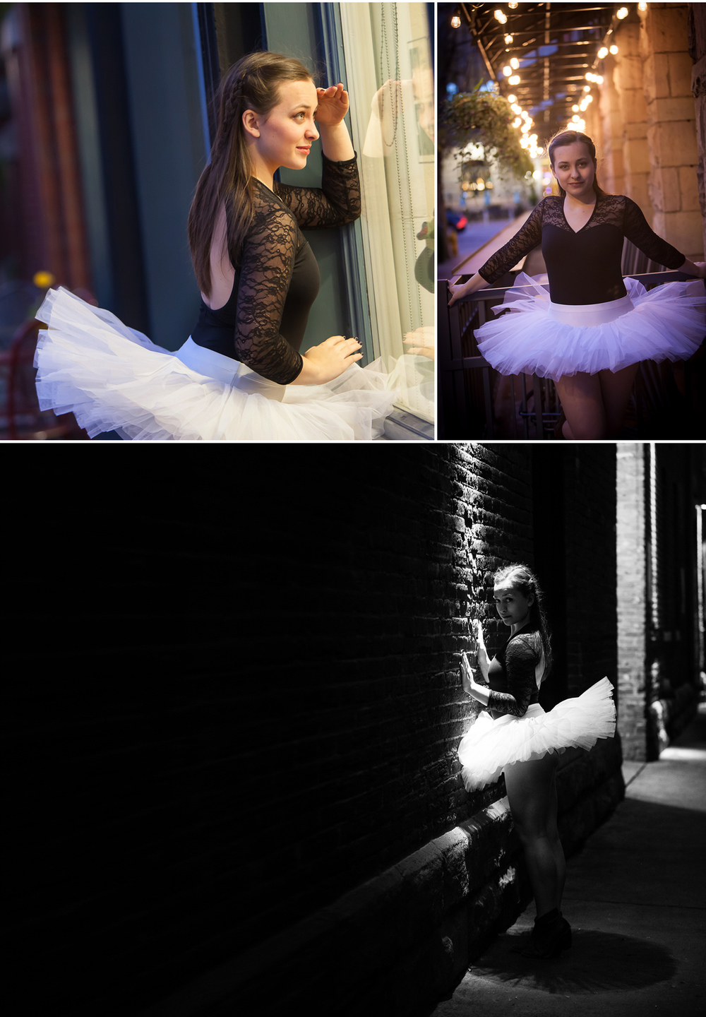 Urban dancer portraits with ballerina tutu at twilight with Denver photographer Jennifer Koskinen, Merritt Portrait Studio.