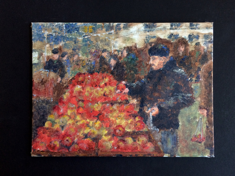 Impressionist inspired oil painting, Union Square Farmer's Market, Manhattan from my architectural thesis.