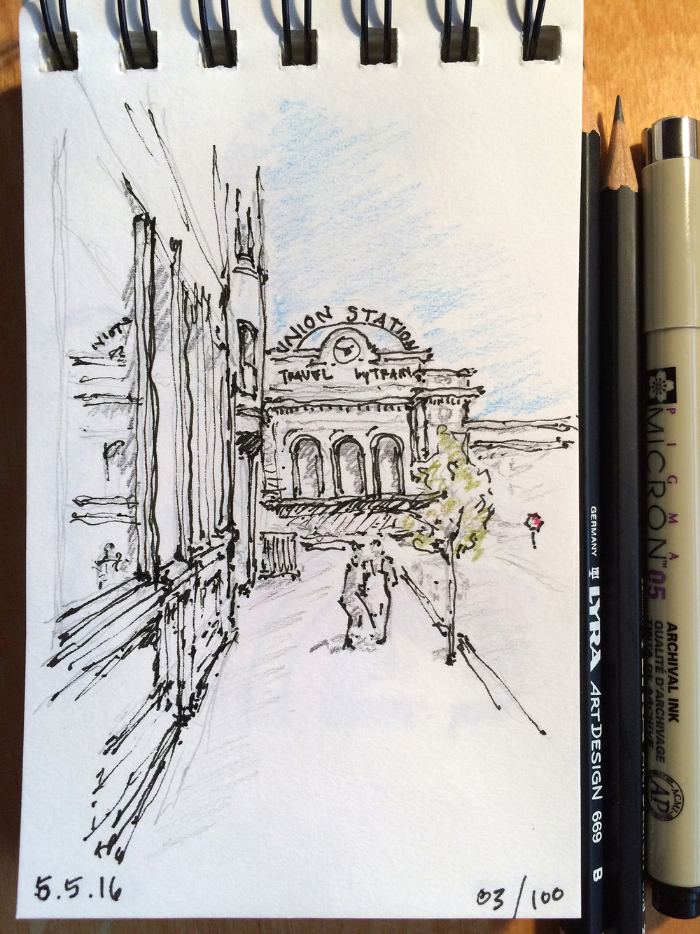pencil and ink sketch, Union Station Denver, by Jennifer Koskinen
