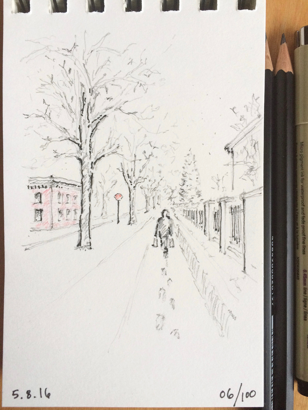 pencil and ink sketch, walking in winter, by Jennifer Koskinen