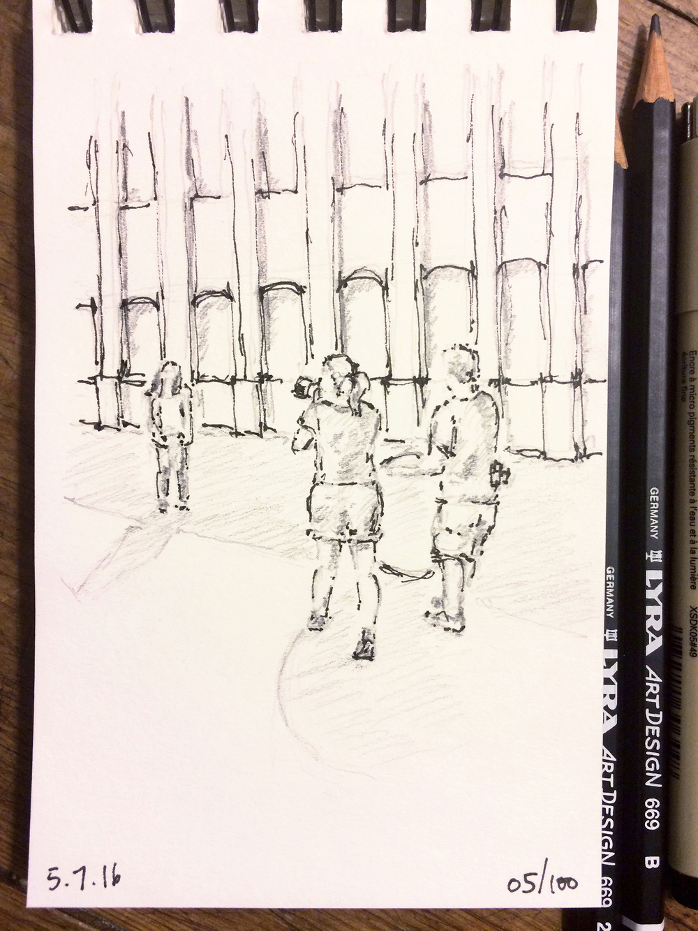 pencil and ink sketch, behind the scenes of photographer on senior portrait session, by Jennifer Koskinen