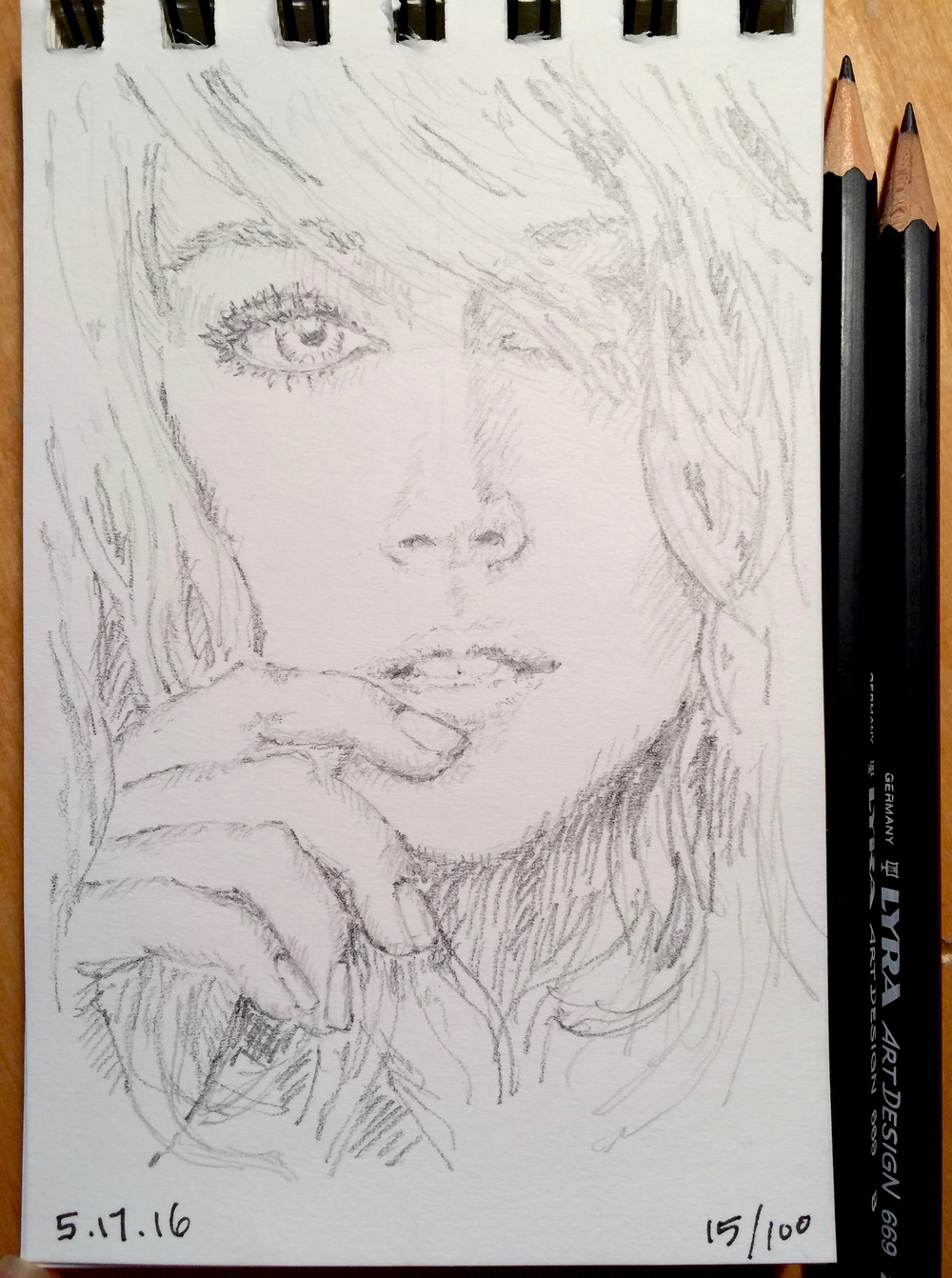 pencil sketch, portrait of beautiful model, by Jennifer Koskinen