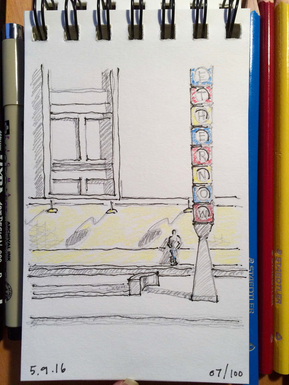colored pencil and ink sketch, Curtis Hotel in Denver, by Jennifer Koskinen