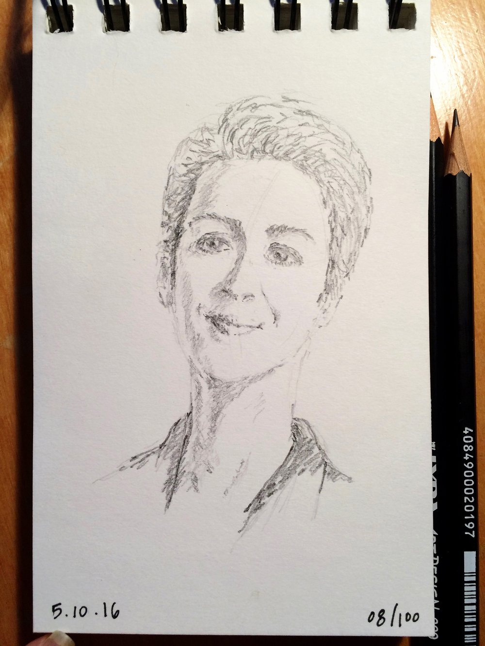 pencil sketch, almost Rachel Maddow, by Jennifer Koskinen