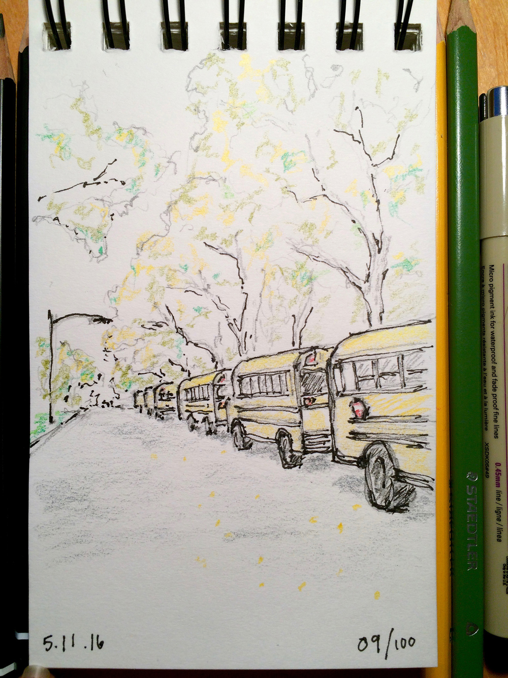 pencil, colored pencil and ink sketch, line of yellow buses in fall, by Jennifer Koskinen