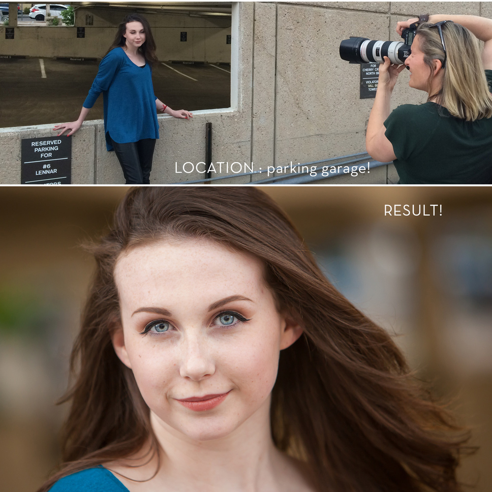behind the scenes pullback of headshot session on location in Denver