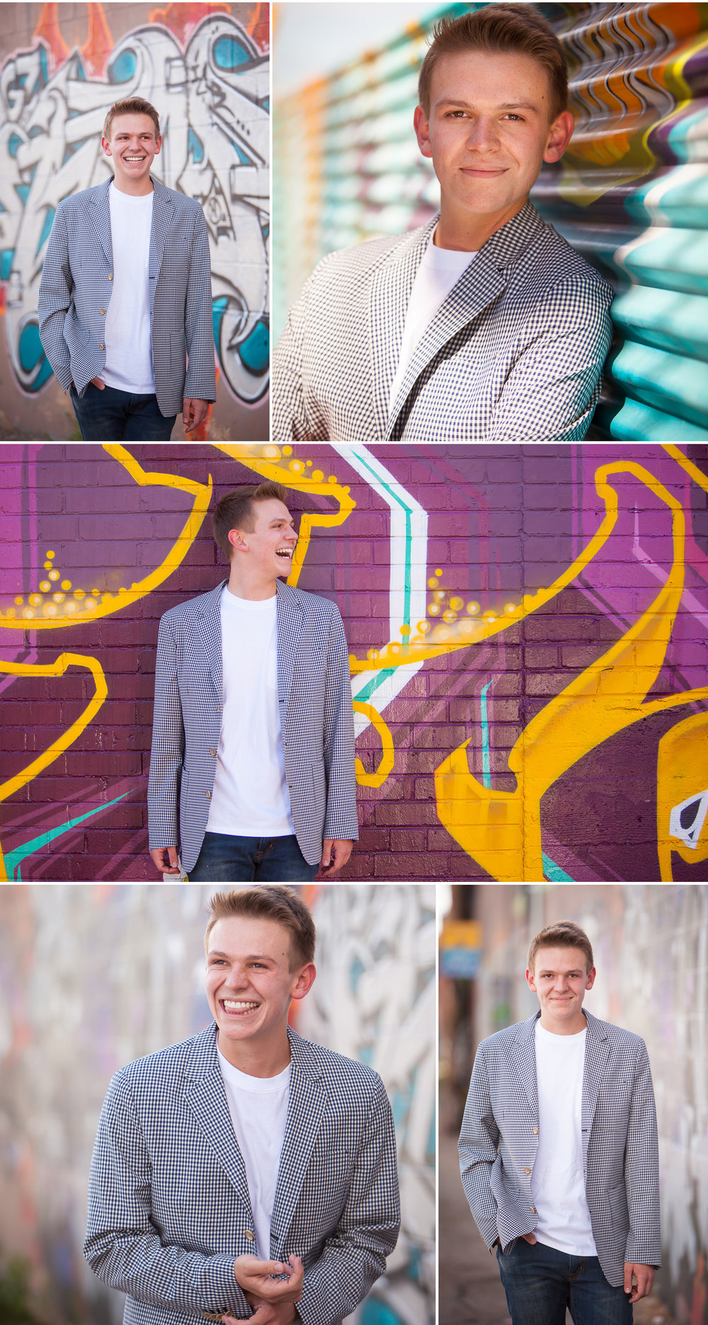 Urban Senior Guy Pictures with colorful graffiti with Denver photographer Jennifer Koskinen | Merritt Portrait Studio