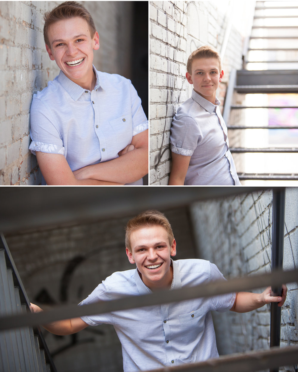 Urban Senior Boy Pictures in rustic alley with Denver photographer Jennifer Koskinen | Merritt Portrait Studio