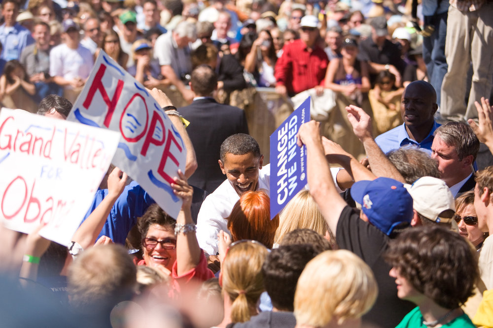 Obama rally, photo by Jennifer Koskinen