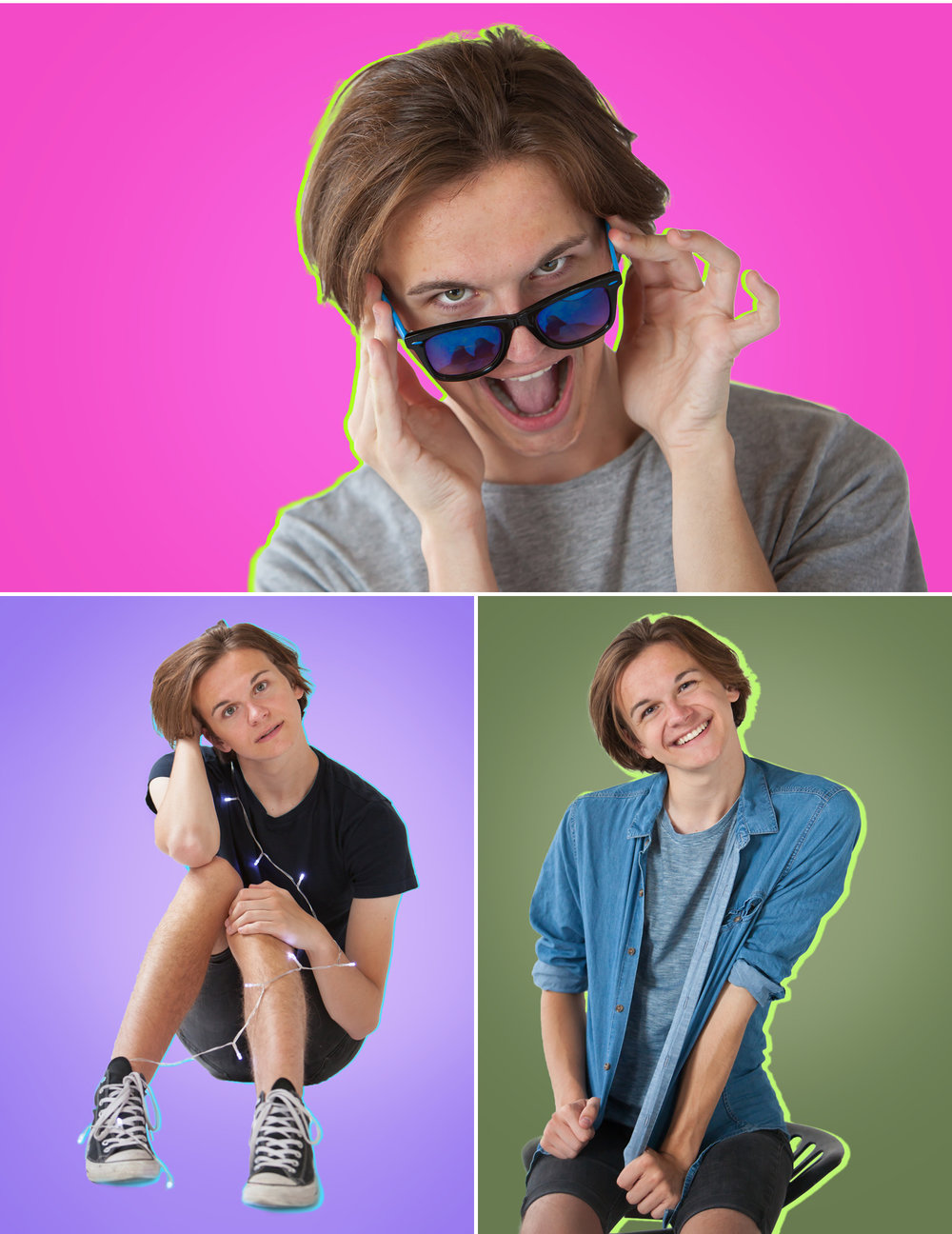 Fun, colorful pop senior photos in Denver, by photographer Jennifer Koskinen, Merritt Portrait Studio