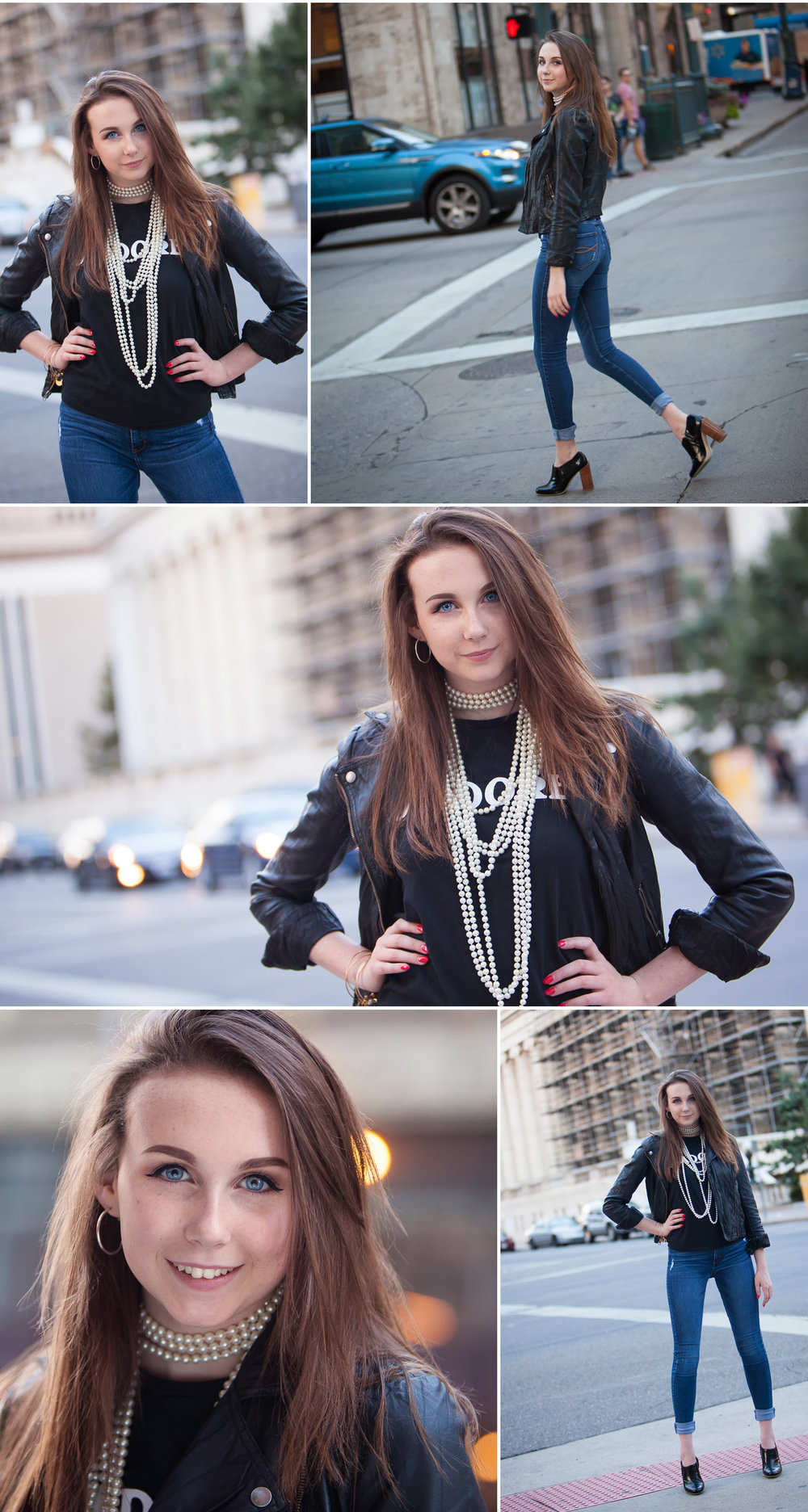Vibrant, natural urban High School Senior pictures in the streets of downtown Denver with photographer Jennifer Koskinen of Merritt Portrait Studio