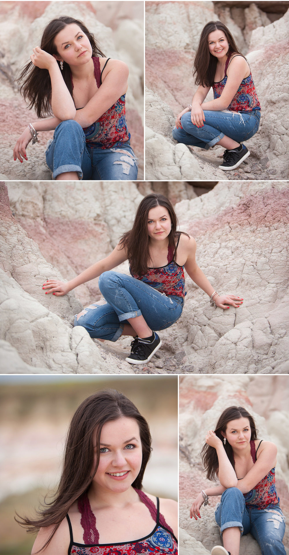 beautiful brunette high school senior pictures in unique, amazing outdoor location in Colorado, with photographer Jennifer Koskinen, Merritt Portrait Studio
