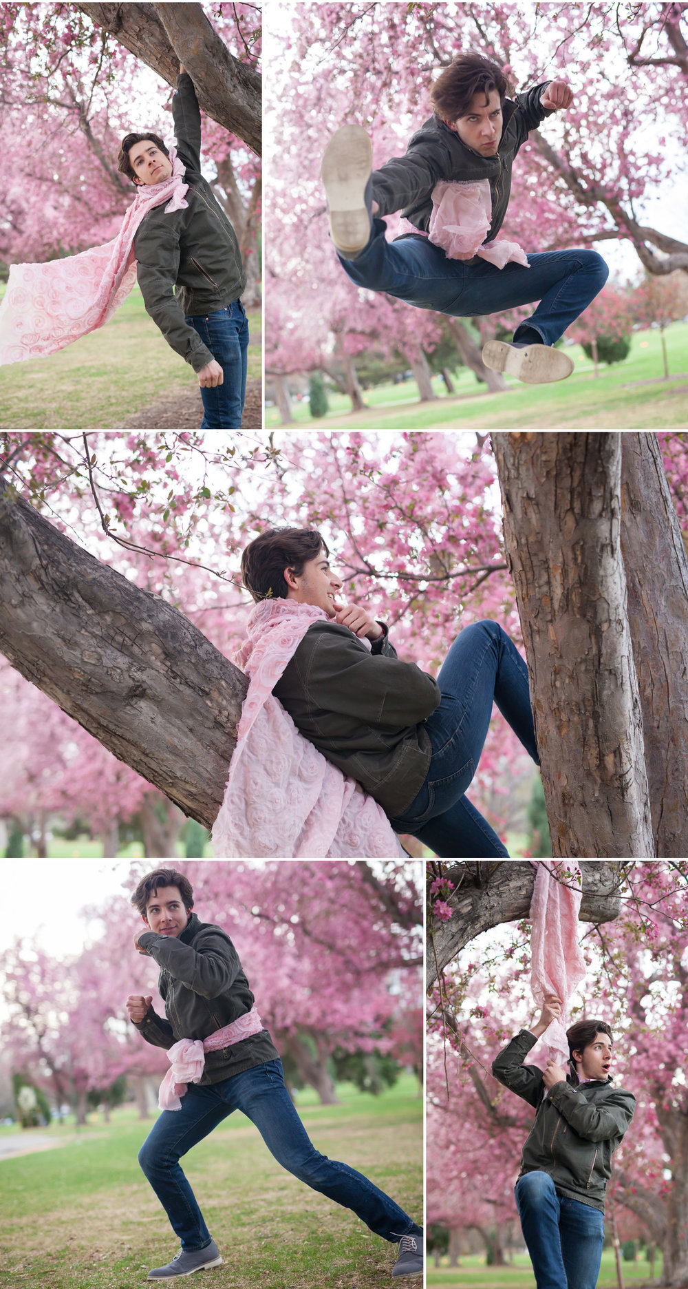 Teenage boy having FUN and being photographed in pink spring flowers, by Denver photographer Jennifer Koskinen, Merritt Portrait Studio