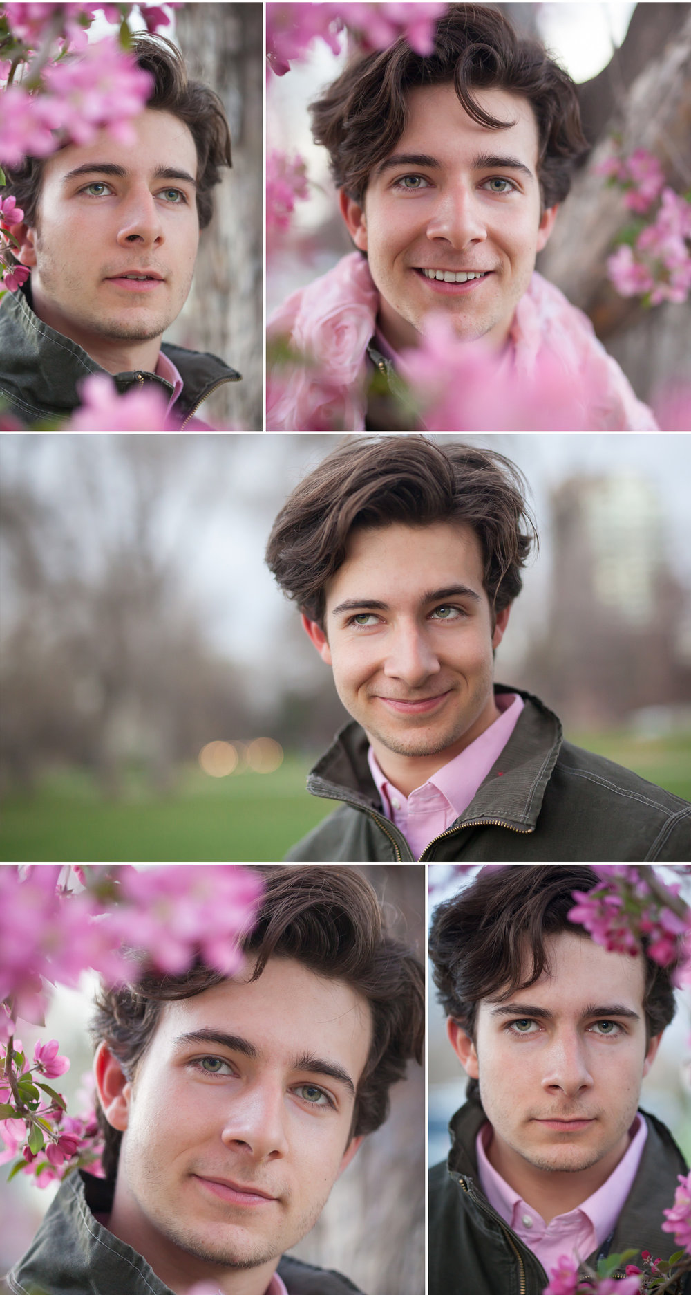 Young actor creatively posing in pink spring flowers, by Denver photographer Jennifer Koskinen, Merritt Portrait Studio