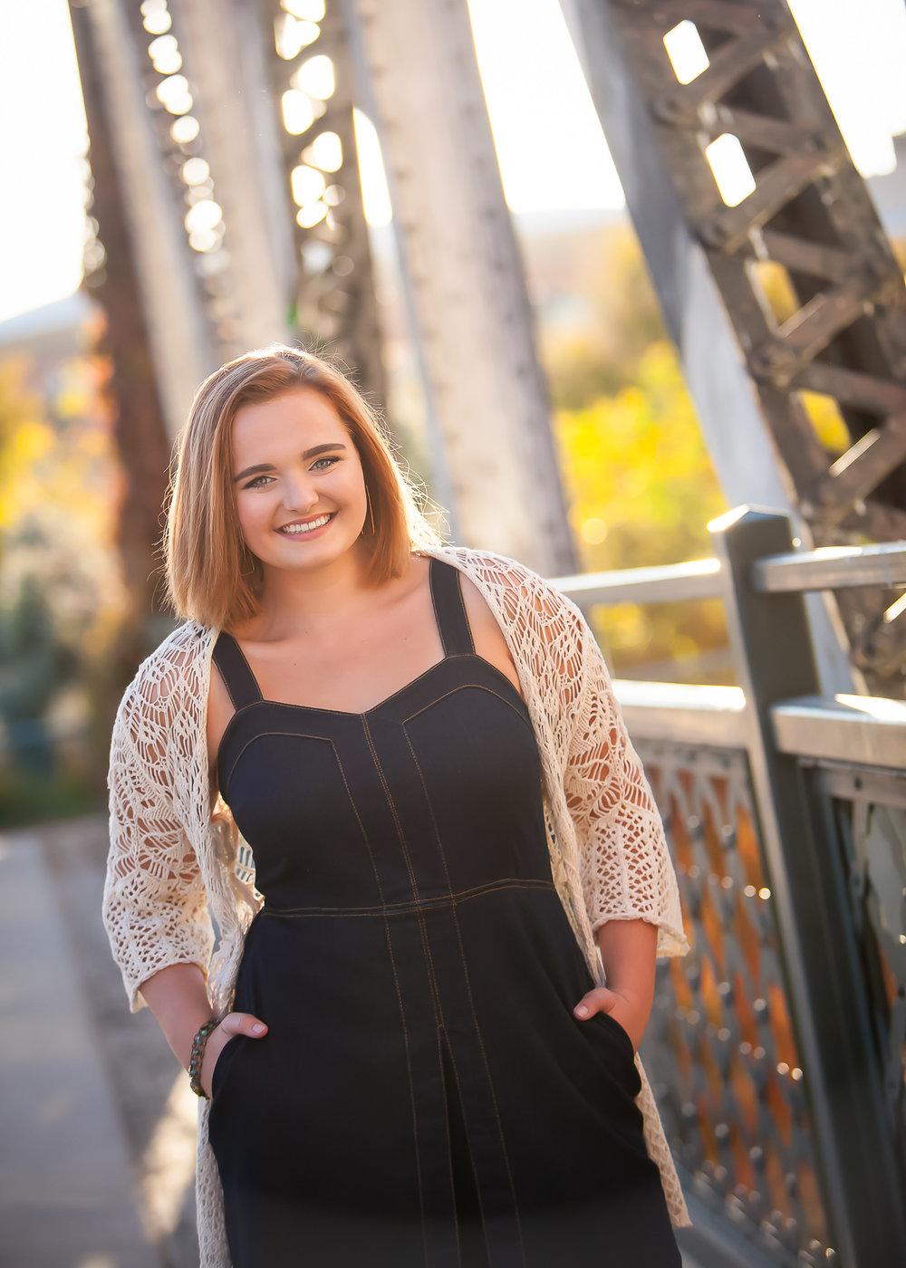 Senior Girl Photo Session at vintage bridge in Denver, autumn sunlight, with photographer Jennifer Koskinen, Merritt Portrait Studio
