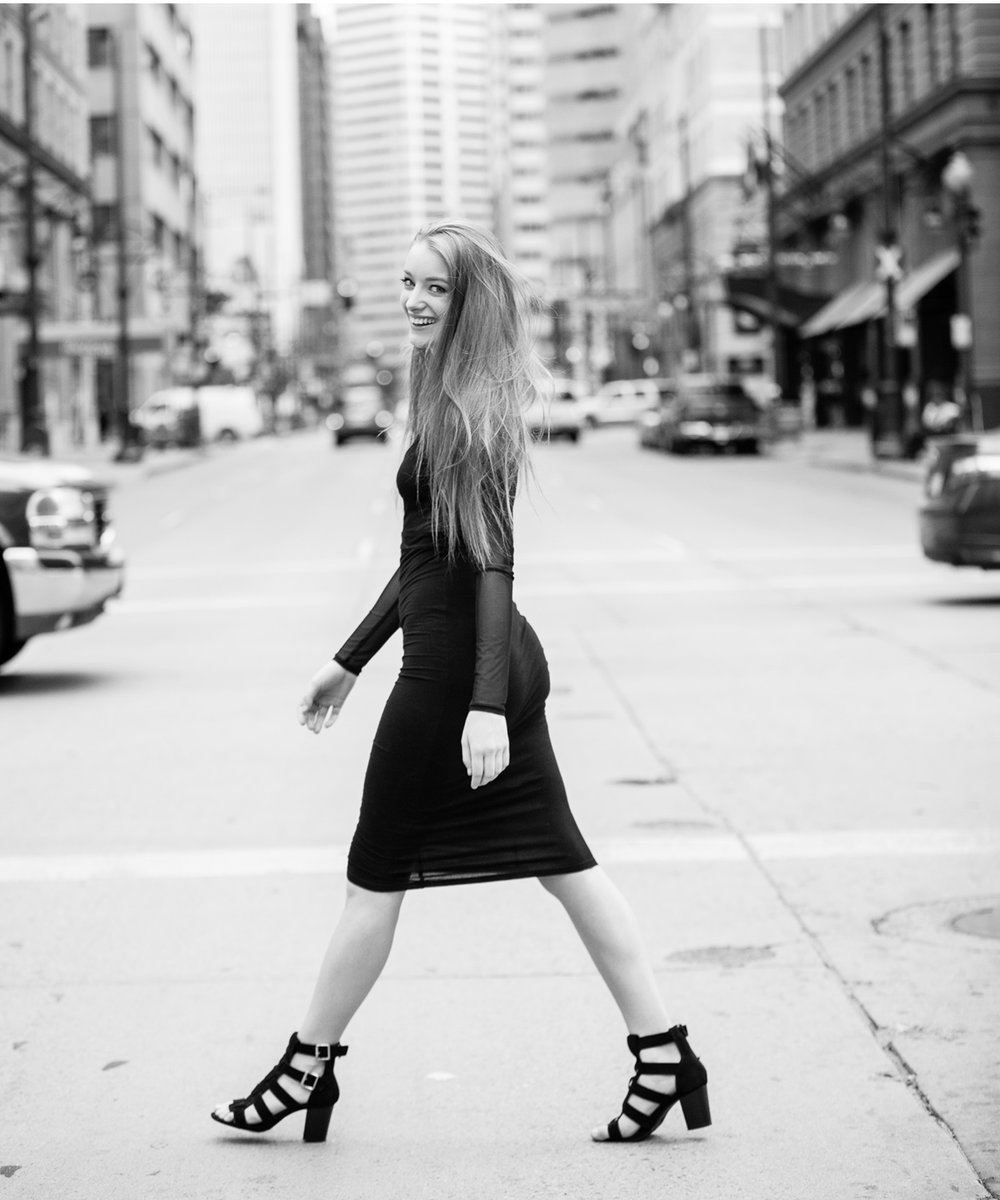 Black & White street style pictures with Denver photographer Jennifer Koskinen, Merritt Portrait Studio
