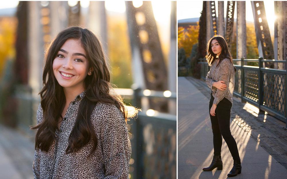 Sunlight pours behind autumn fashion inspired senior portrait session in downtown Denver with photographer Jennifer Koskinen, Merritt Portrait Studio