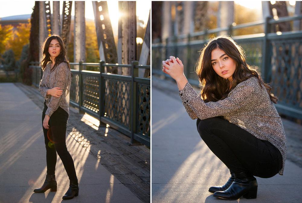 Sunshine behind autumn senior portrait session on vintage bridge in downtown Denver with photographer Jennifer Koskinen, Merritt Portrait Studio