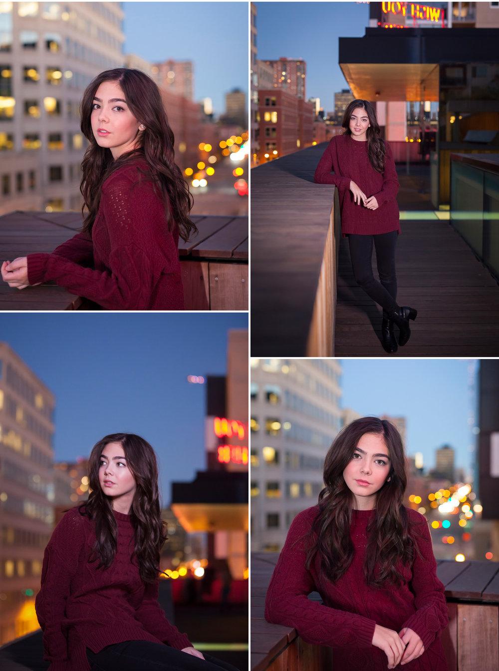 Urban rooftop high school senior pictures with twinkling lights at twilight with photographer Jennifer Koskinen, Merritt Portrait Studio