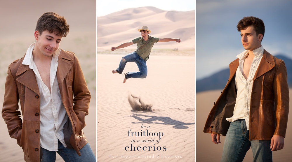 Unique and Fun Senior Guy Portraits at Great Sand Dunes with photographer Jennifer Koskinen, Merritt Portrait Studio