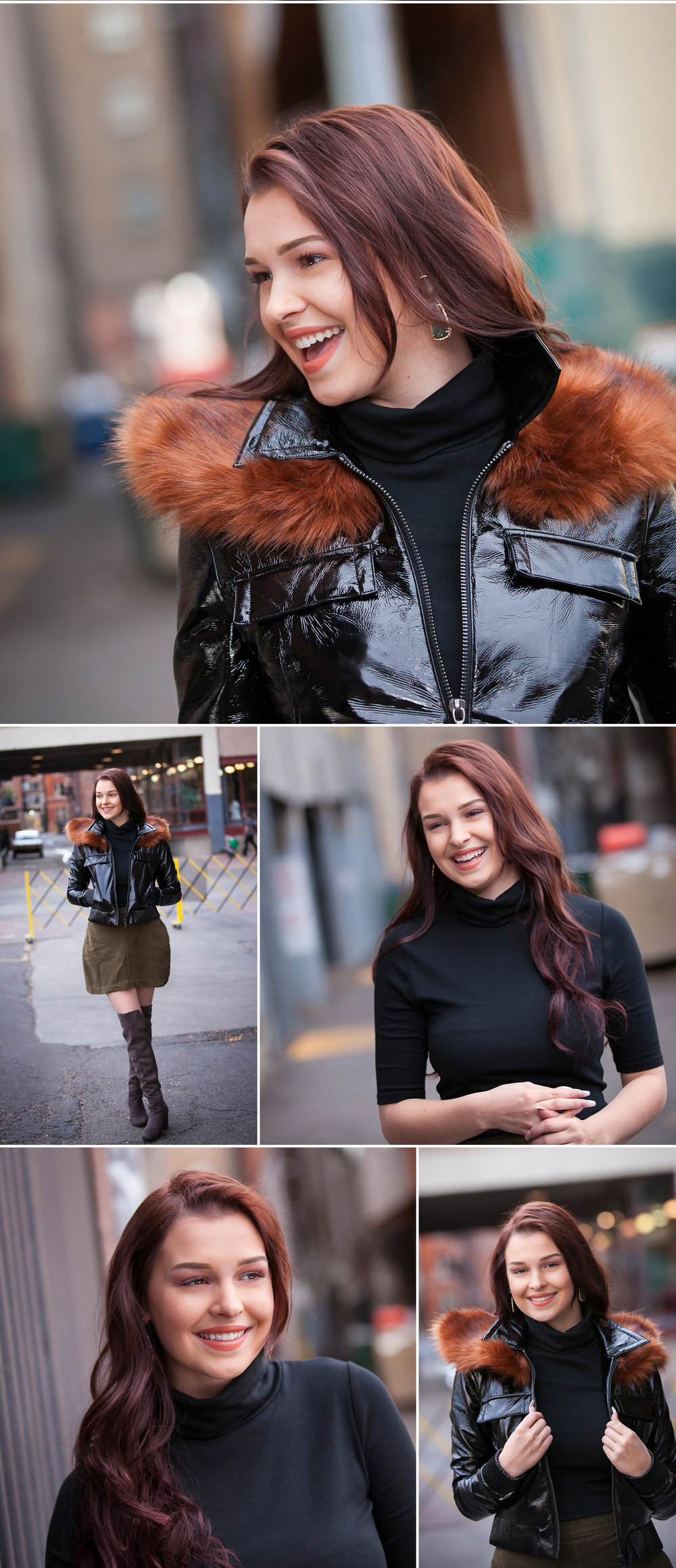 Fun, Fashionable High School Senior Portraits in leather jacket and tall suede boots, photographed in alley with Denver photographer Jennifer Koskinen, Merritt Portrait Studio