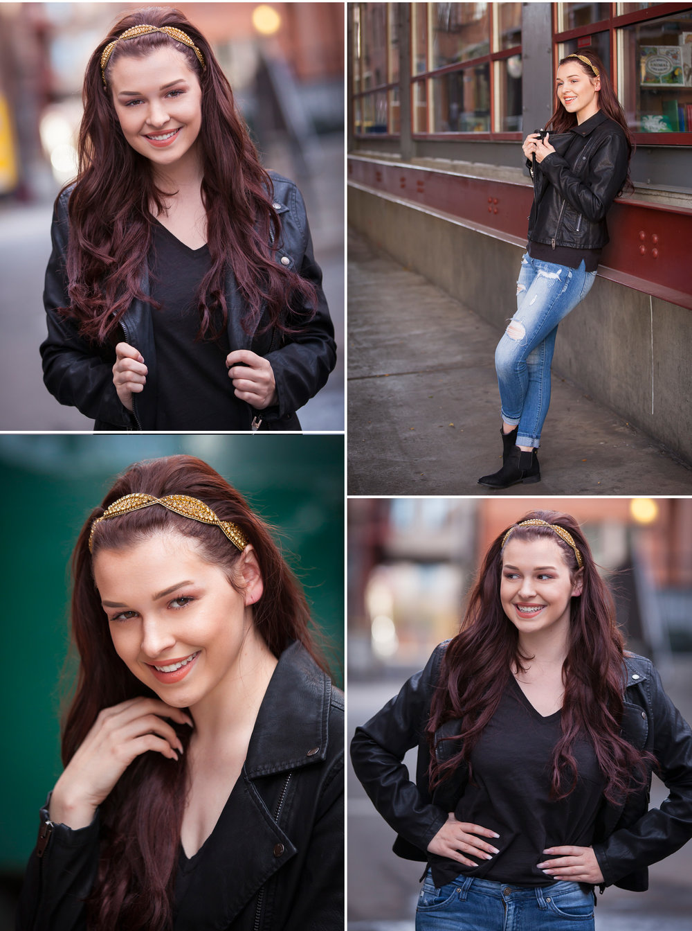 High School Senior Pictures in leather jacket, photographed in alley with Denver photographer Jennifer Koskinen, Merritt Portrait Studio