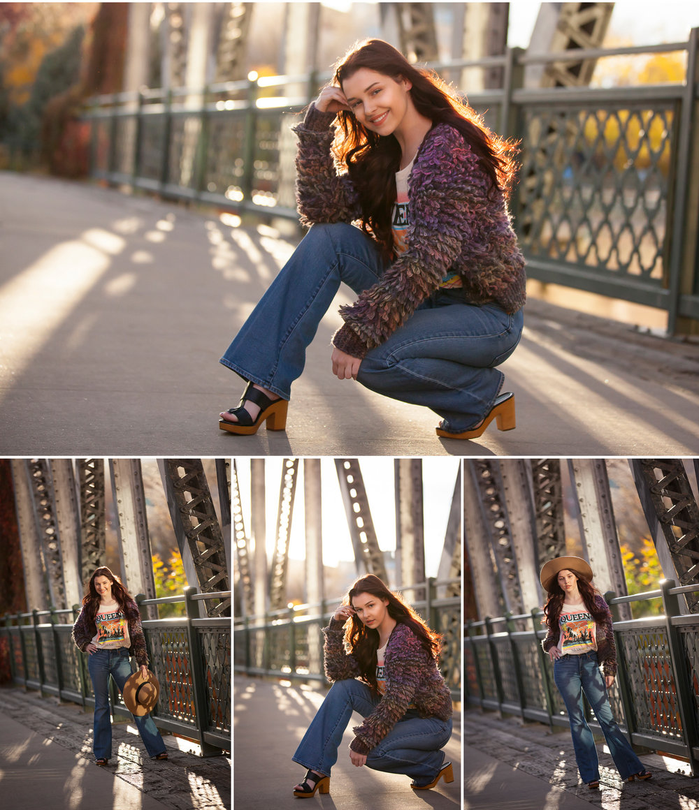High School Senior Pictures in vintage wardrobe on bridge with backlight, with Denver photographer Jennifer Koskinen, Merritt Portrait Studio