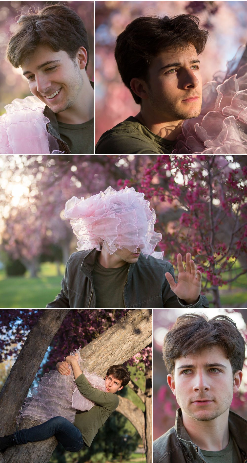 Silly Guy Blossom Portraits in afternoon trees with Denver Photographer Jennifer Koskinen, Merritt Portrait Studio