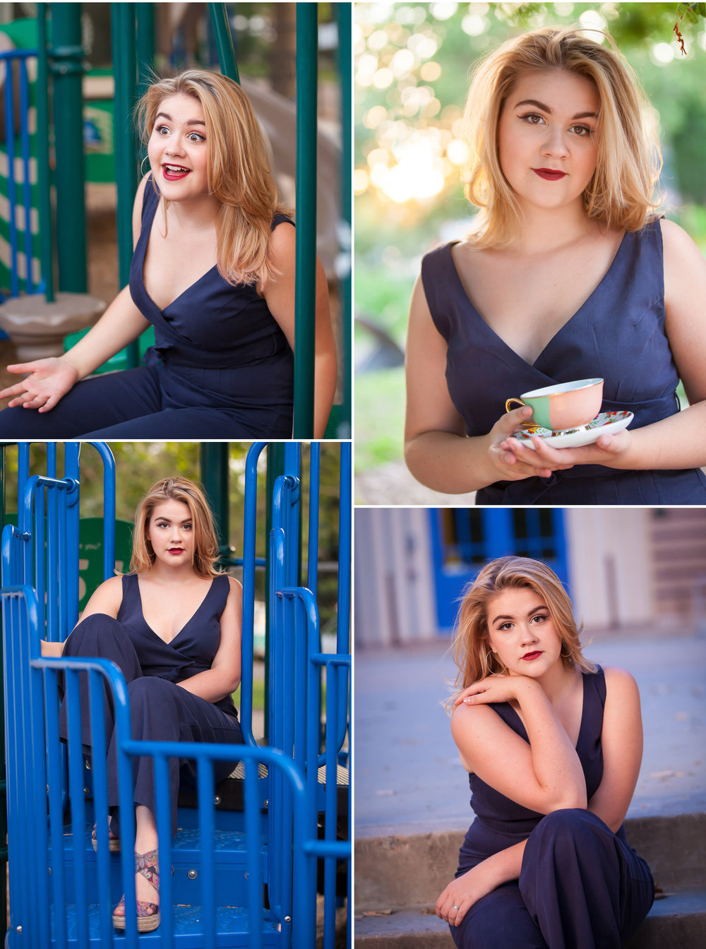 Fun Senior Pictures on playground with Denver photographer Jennifer Koskinen, Merritt Portrait Studio