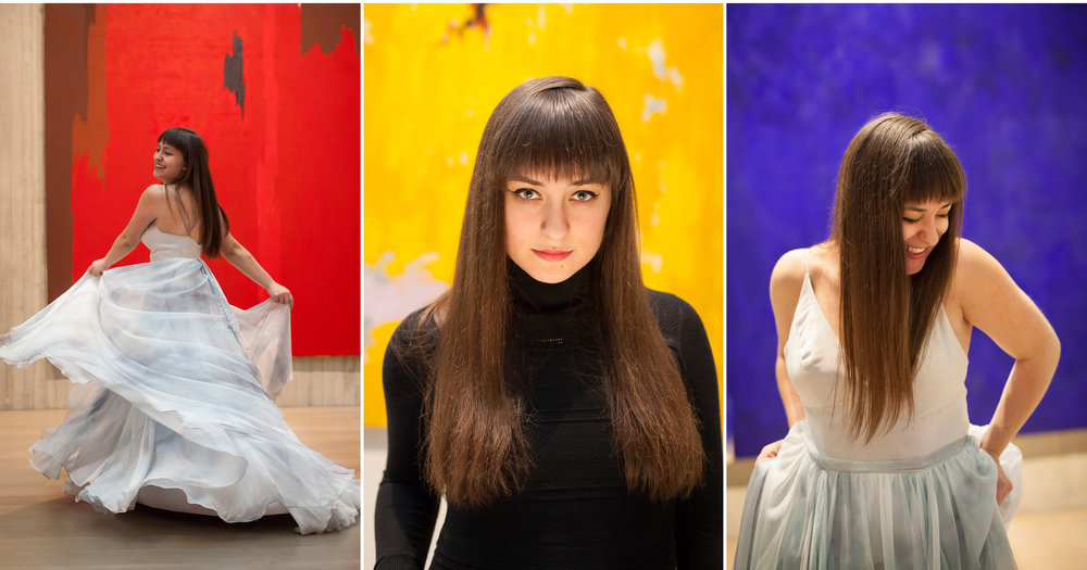 Senior Portraits with colorful abstract paintings in Clyfford Still Museum in Denver with photographer Jennifer Koskinen, Merritt Portrait Studio