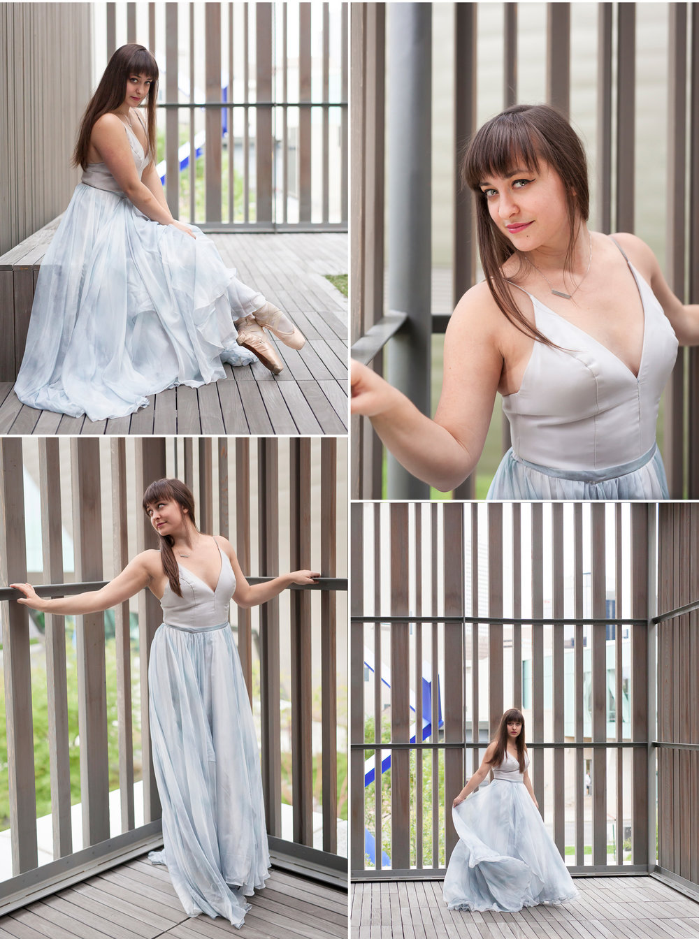 Ballet inspired Senior Portrait in dress on patio of Clyfford Still Museum in Denver with photographer Jennifer Koskinen, Merritt Portrait Studio