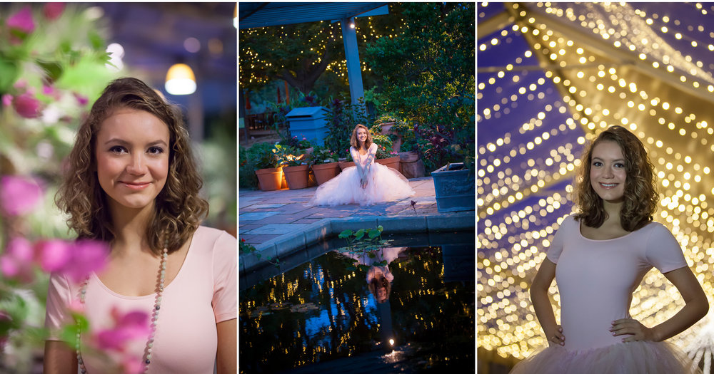 High School Senior Pictures in twilight with twinkling lights at Denver Botanic Gardens, photographer Jennifer Koskinen, Merritt Portrait Studio