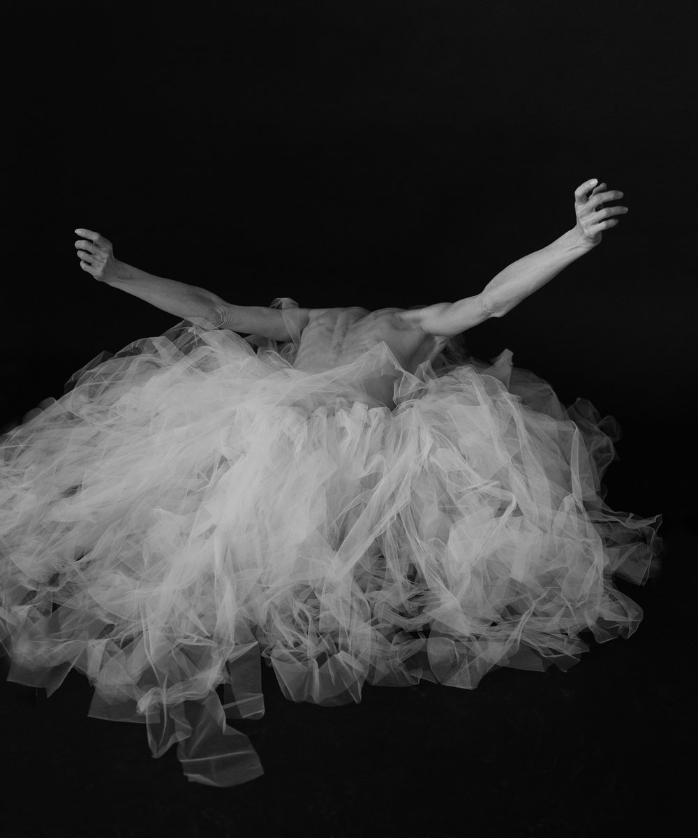 Valerie Madonia becomes a bird in a nest of tulle for fine art dancer photo session with photographer Jennifer Koskinen, Merritt Portrait Studio